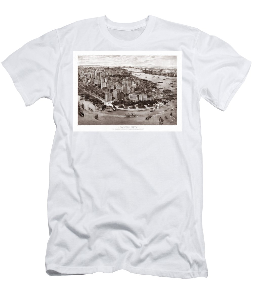 New York Men's T-Shirt (Athletic Fit) featuring the photograph Vintage New York 1903 by Andrew Fare