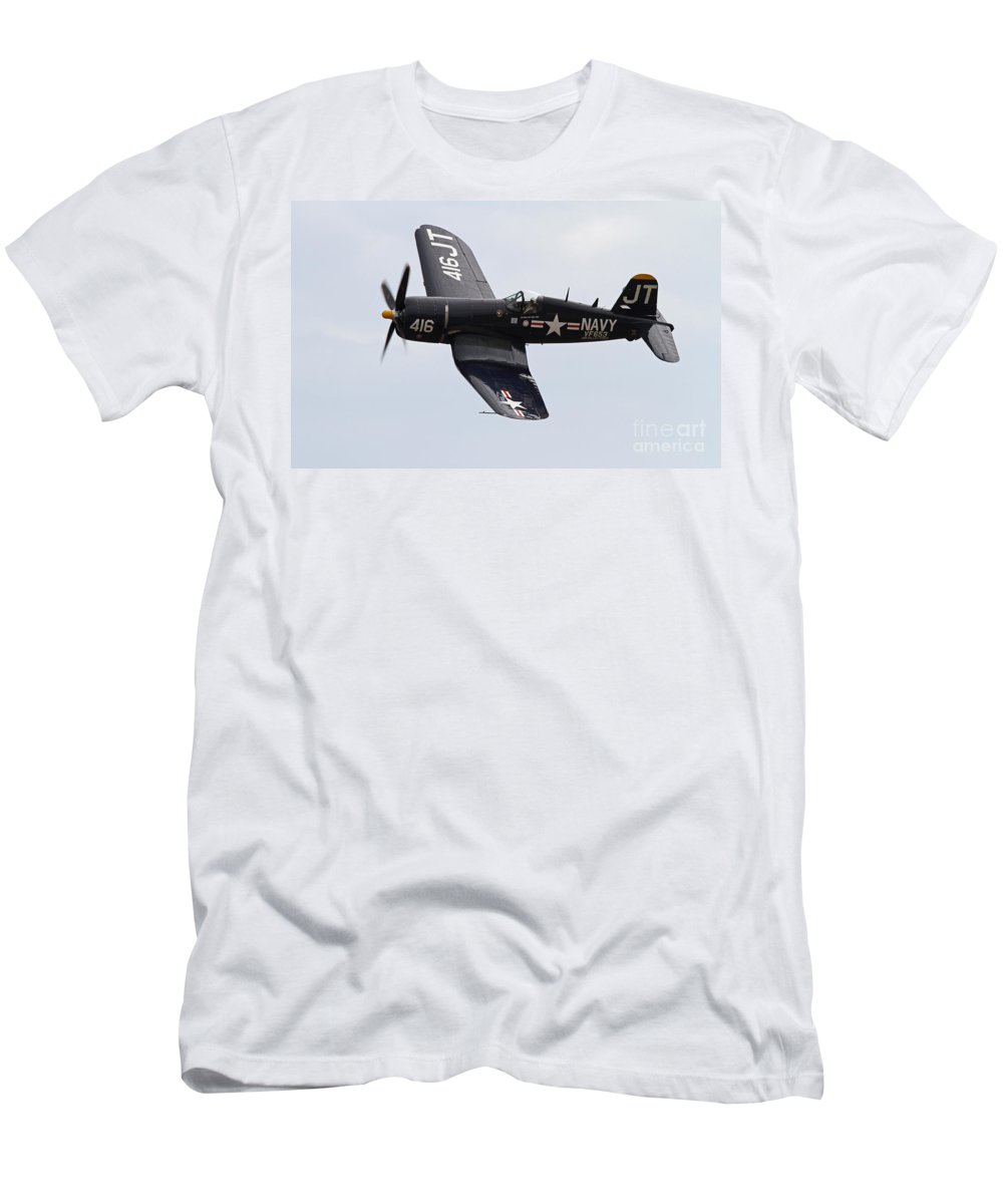 Fighter Men's T-Shirt (Athletic Fit) featuring the photograph Vintage World War II Aircraft by Kevin McCarthy