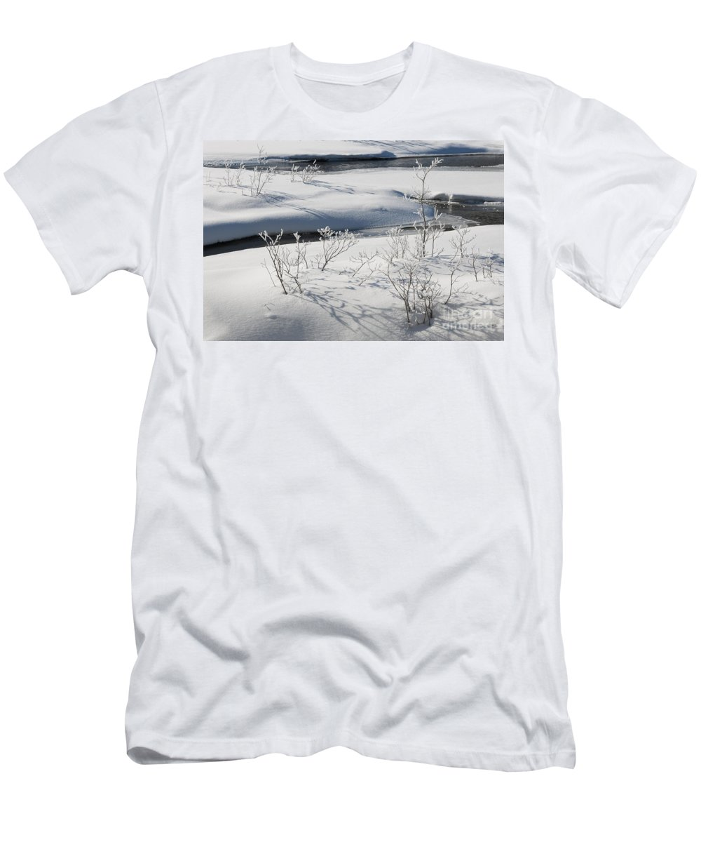 Nature Men's T-Shirt (Athletic Fit) featuring the photograph Winter Stream, Jasper National Park by John Shaw
