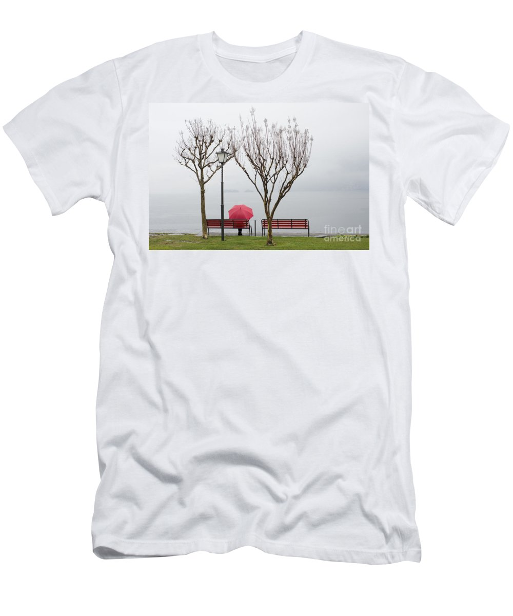 Woman Men's T-Shirt (Athletic Fit) featuring the photograph Woman Sitting On A Bench by Mats Silvan