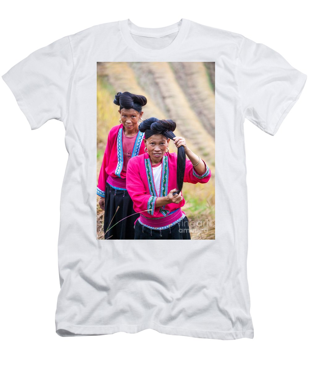 40-50 Men's T-Shirt (Athletic Fit) featuring the photograph Yao Ethnic Minority Women On Rice Terrace Guilin China by Matteo Colombo