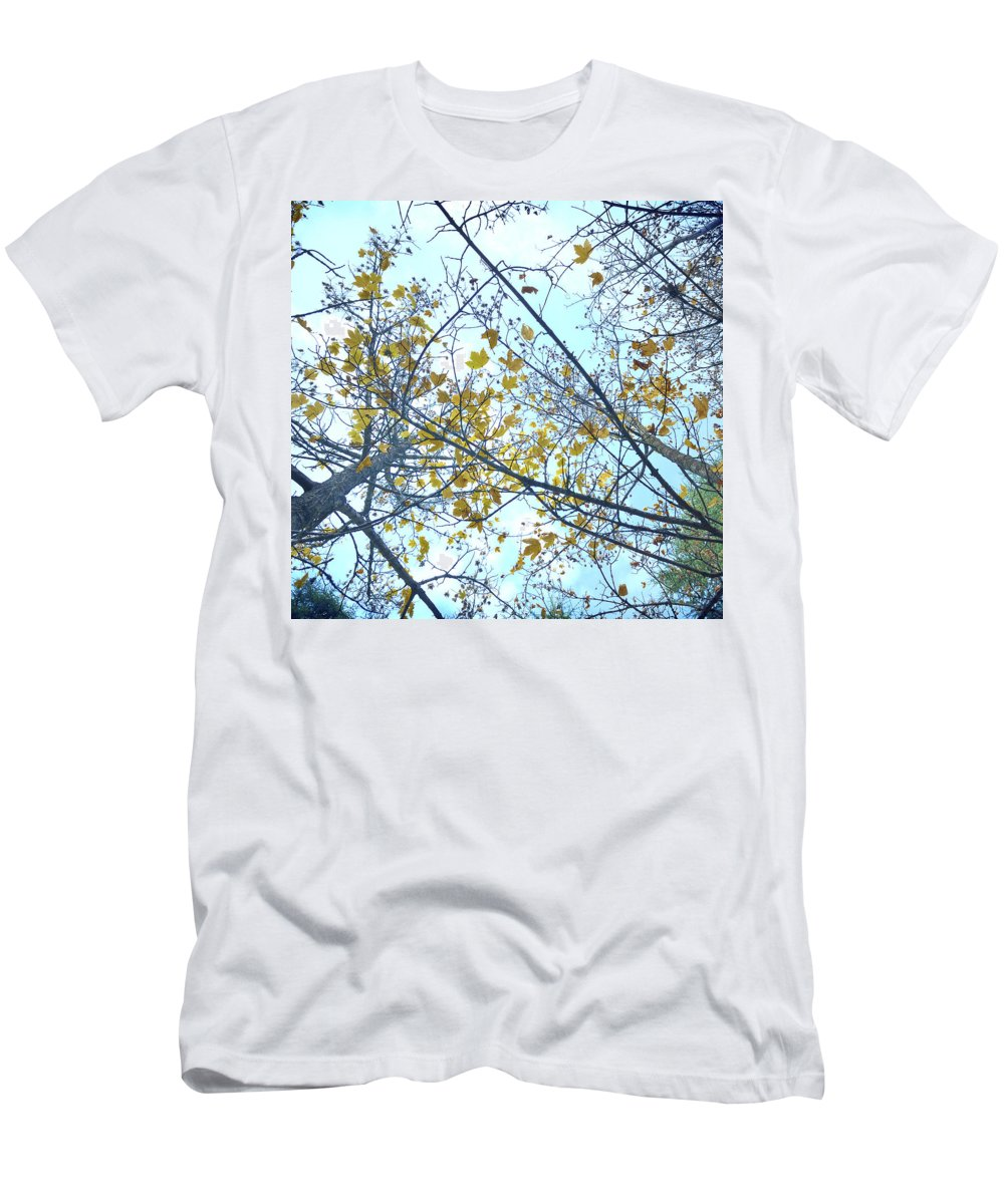 Landscape Men's T-Shirt (Athletic Fit) featuring the photograph Yellow Leaves Vintage by Guido Montanes Castillo