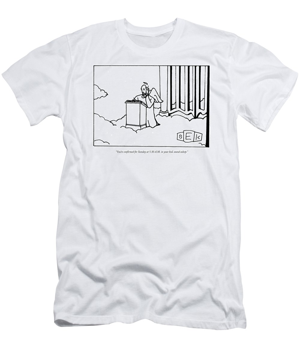 Death Men's T-Shirt (Athletic Fit) featuring the drawing You're Confirmed For Sunday At 5:30 A.m by Bruce Eric Kaplan