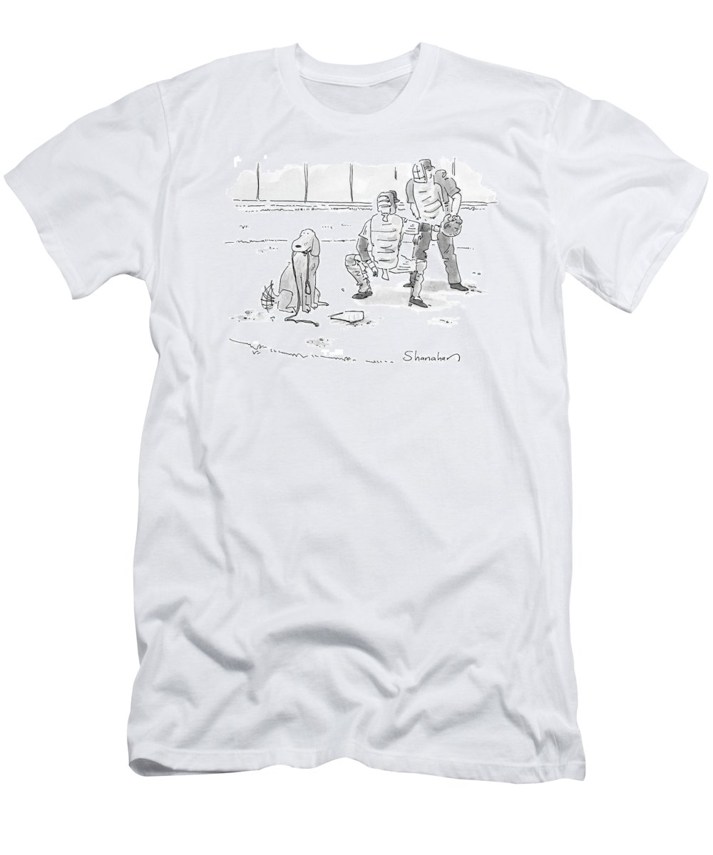 Sports Pets Dogs Baseball Homeplate Walk T-Shirt featuring the drawing New Yorker October 10th, 2005 by Danny Shanahan