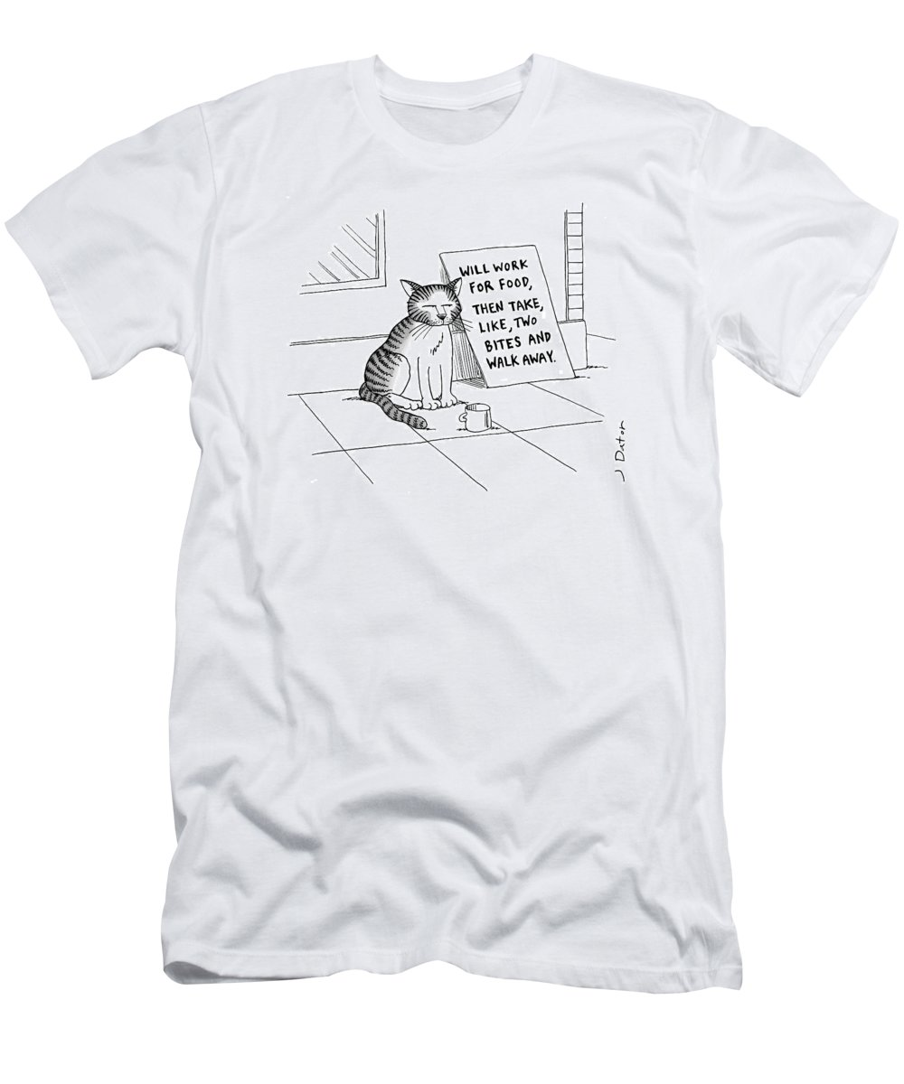Cat On Street With Sign That Reads T-Shirt featuring the drawing New Yorker September 22nd, 2008 by Joe Dator