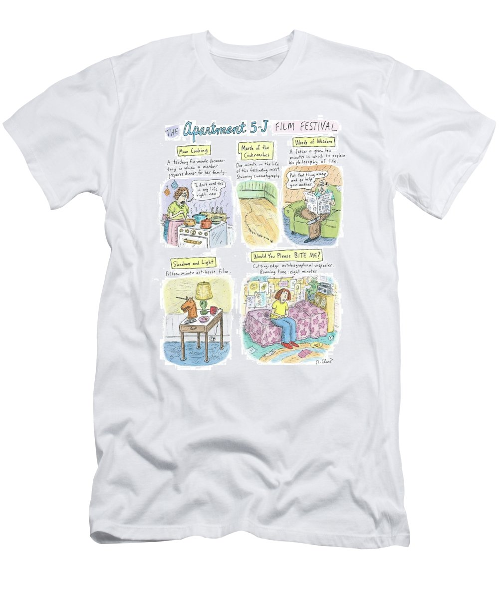 Movies T-Shirt featuring the drawing New Yorker September 18th, 2006 by Roz Chast