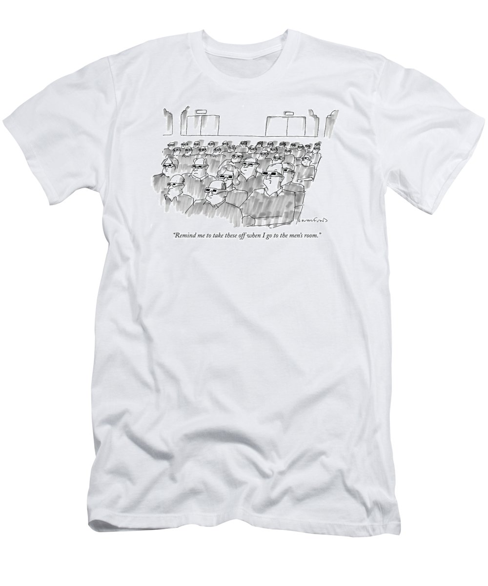 Senility Men's T-Shirt (Athletic Fit) featuring the drawing Remind Me To Take These Off When I Go by Michael Crawford