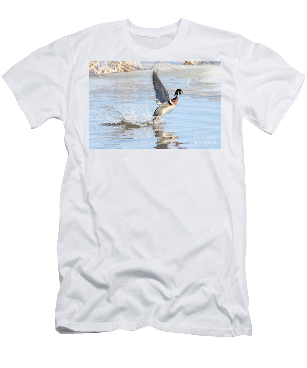 Wood Duck Men's T-Shirt (Athletic Fit) featuring the photograph Wood Duck by Lori Tordsen