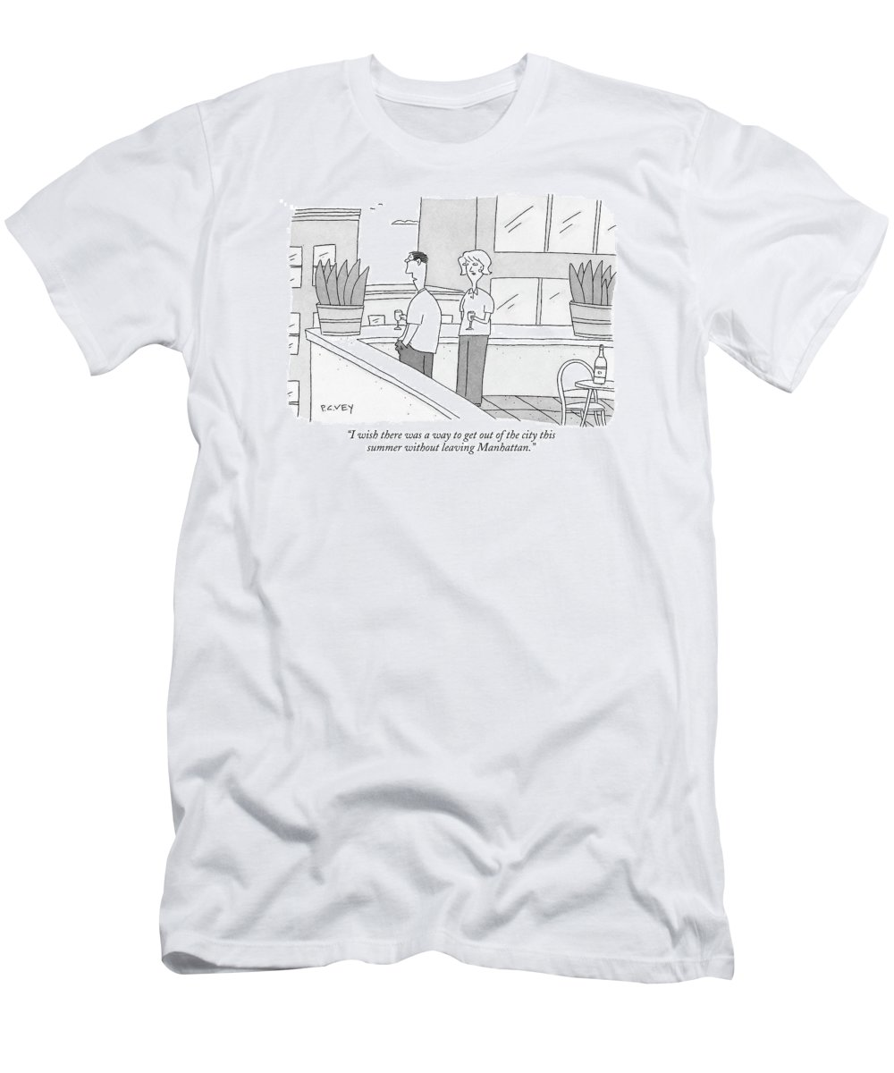 Regional Urban Vacation Terrace Rooftop (woman To Man On Balcony) 121067 Pve Peter C. Vey Peter Vey Pc Peter C. Vey P.c. New York City Men's T-Shirt (Athletic Fit) featuring the drawing I Wish There Was A Way To Get Out Of The City by Peter C. Vey