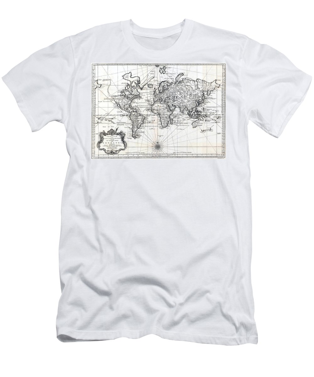 1748 Men's T-Shirt (Athletic Fit) featuring the photograph 1748 Antique World Map Versuch Von Einer Kurzgefassten Karte by Karon Melillo DeVega