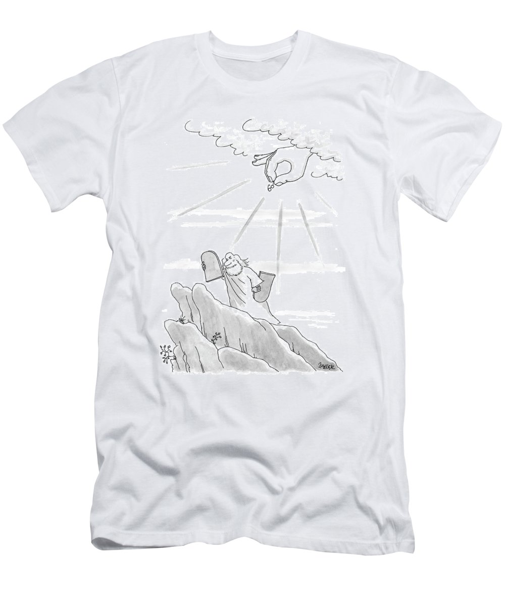 Moses Men's T-Shirt (Athletic Fit) featuring the drawing New Yorker September 4th, 2000 by Jack Ziegler