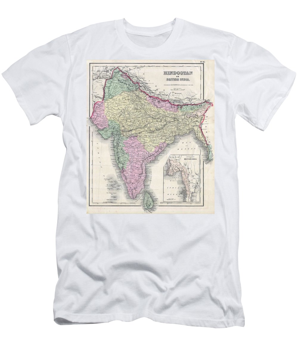 Men's T-Shirt (Athletic Fit) featuring the photograph 1855 Colton Map Of India Or Hindostan by Paul Fearn