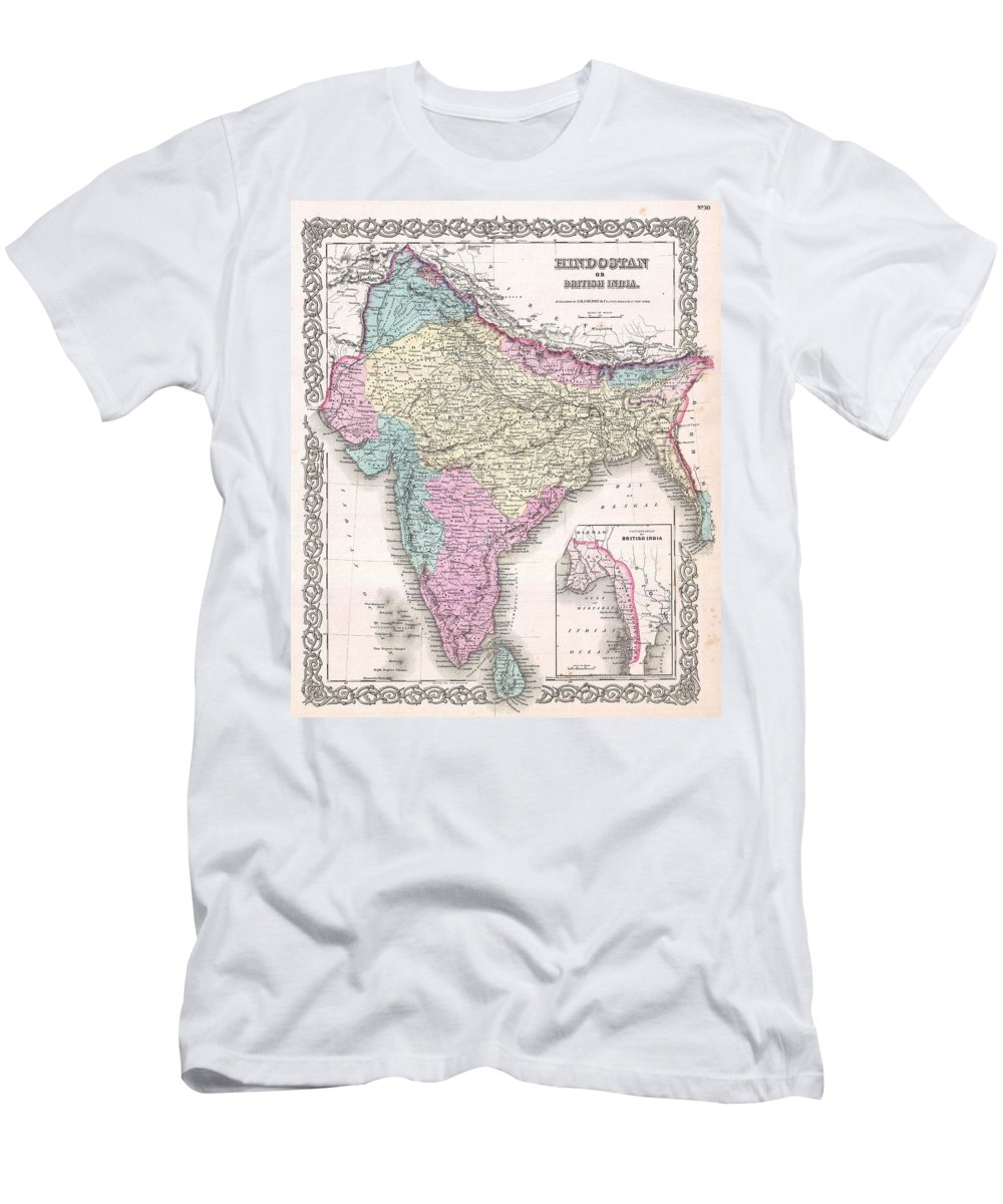 Men's T-Shirt (Athletic Fit) featuring the photograph 1855 Colton Map Of India by Paul Fearn
