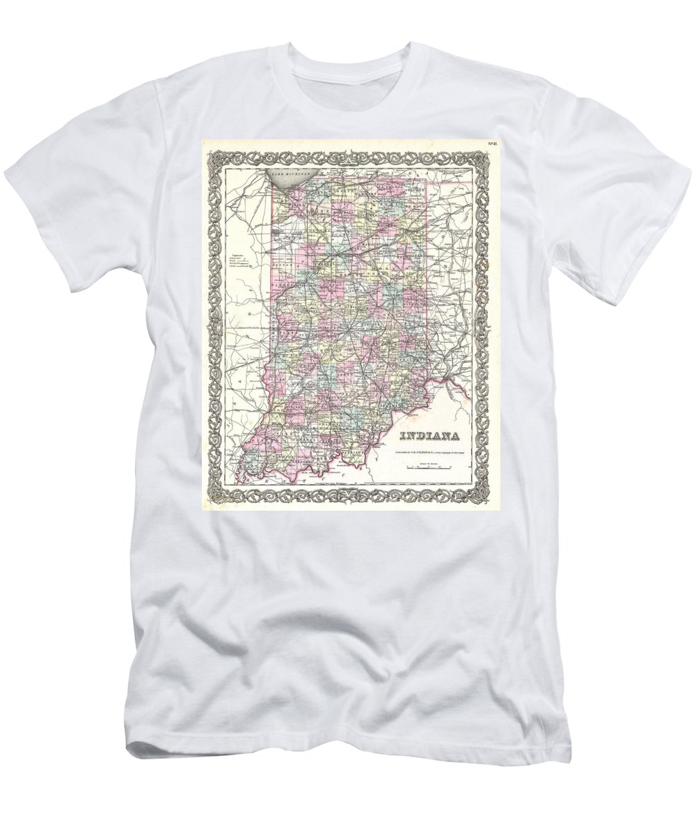 Men's T-Shirt (Athletic Fit) featuring the photograph 1855 Colton Map Of Indiana by Paul Fearn