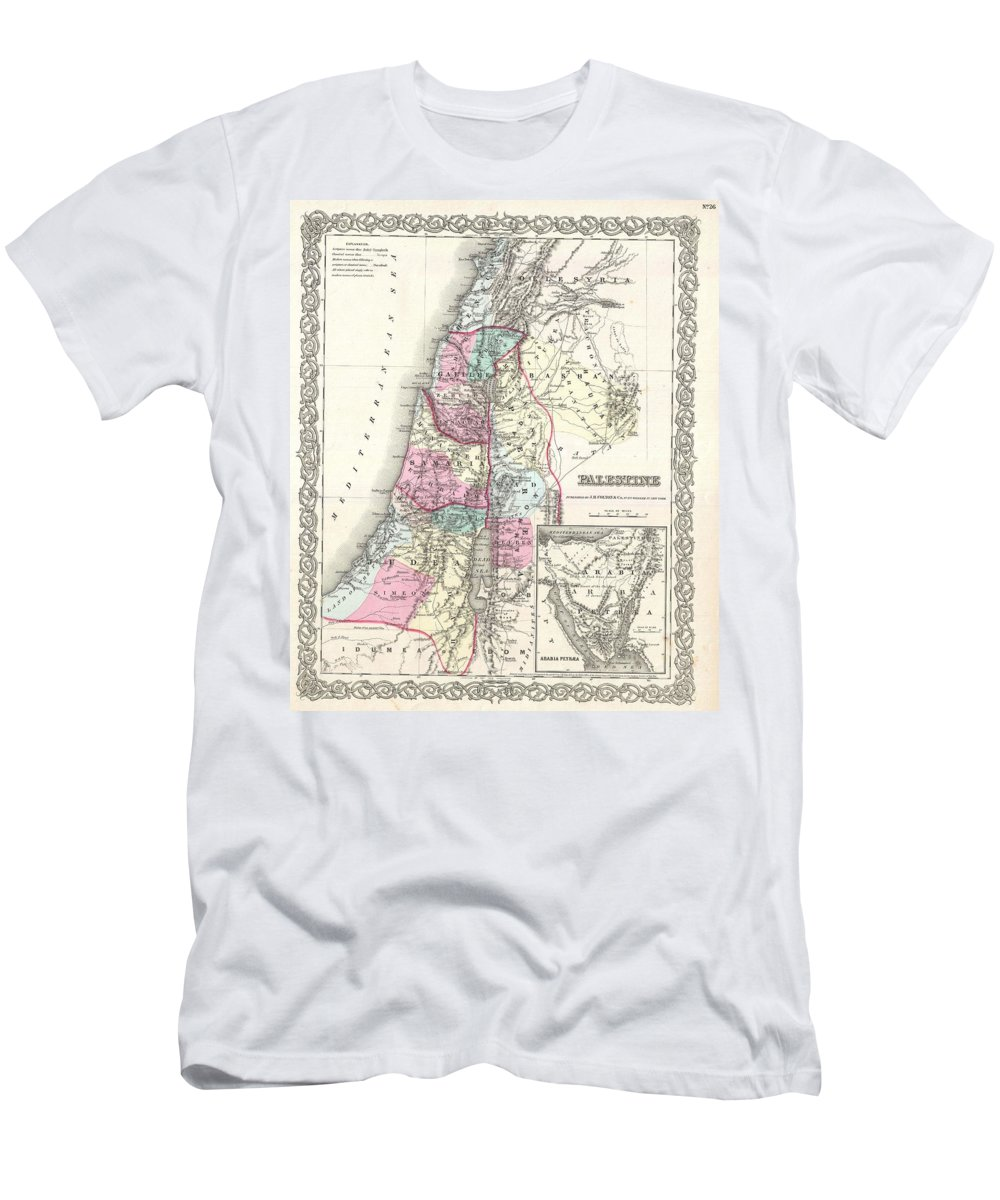 Men's T-Shirt (Athletic Fit) featuring the photograph 1855 Colton Map Of Israel Palestine Or The Holy Land by Paul Fearn