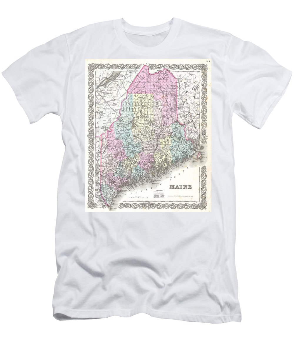 Men's T-Shirt (Athletic Fit) featuring the photograph 1855 Colton Map Of Maine by Paul Fearn