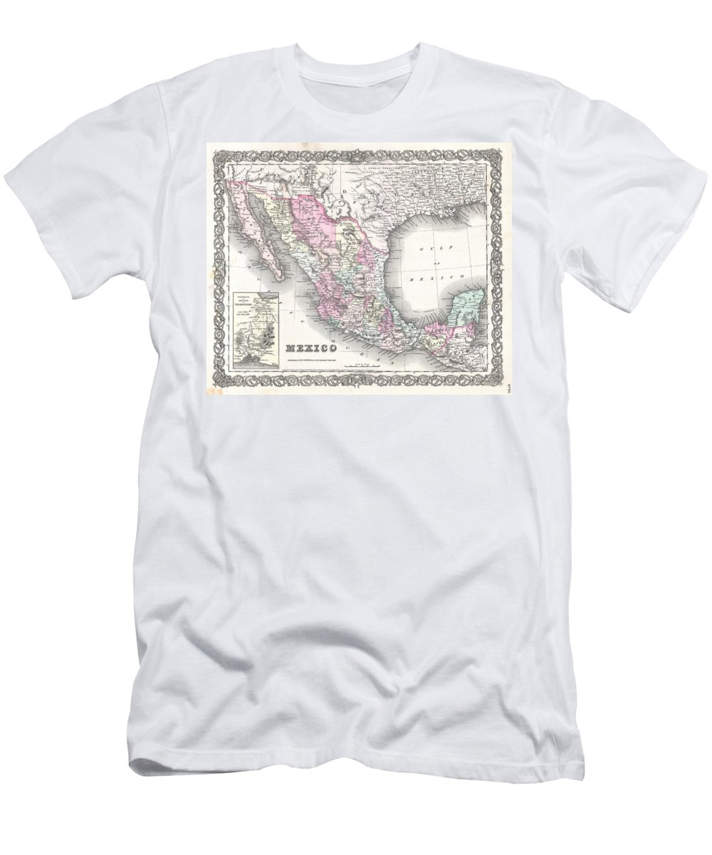 Men's T-Shirt (Athletic Fit) featuring the photograph 1855 Colton Map Of Mexico - Geographicus1855 Colton Map Of Mexico - Geographicus by Paul Fearn