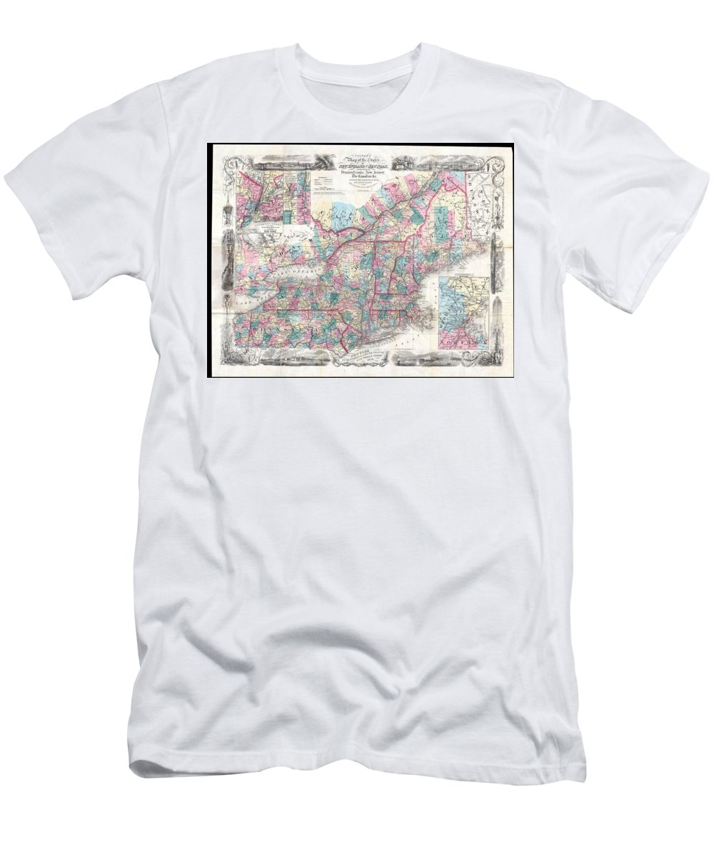 Men's T-Shirt (Athletic Fit) featuring the photograph 1856 Colton Pocket Map Of New England And New York by Paul Fearn