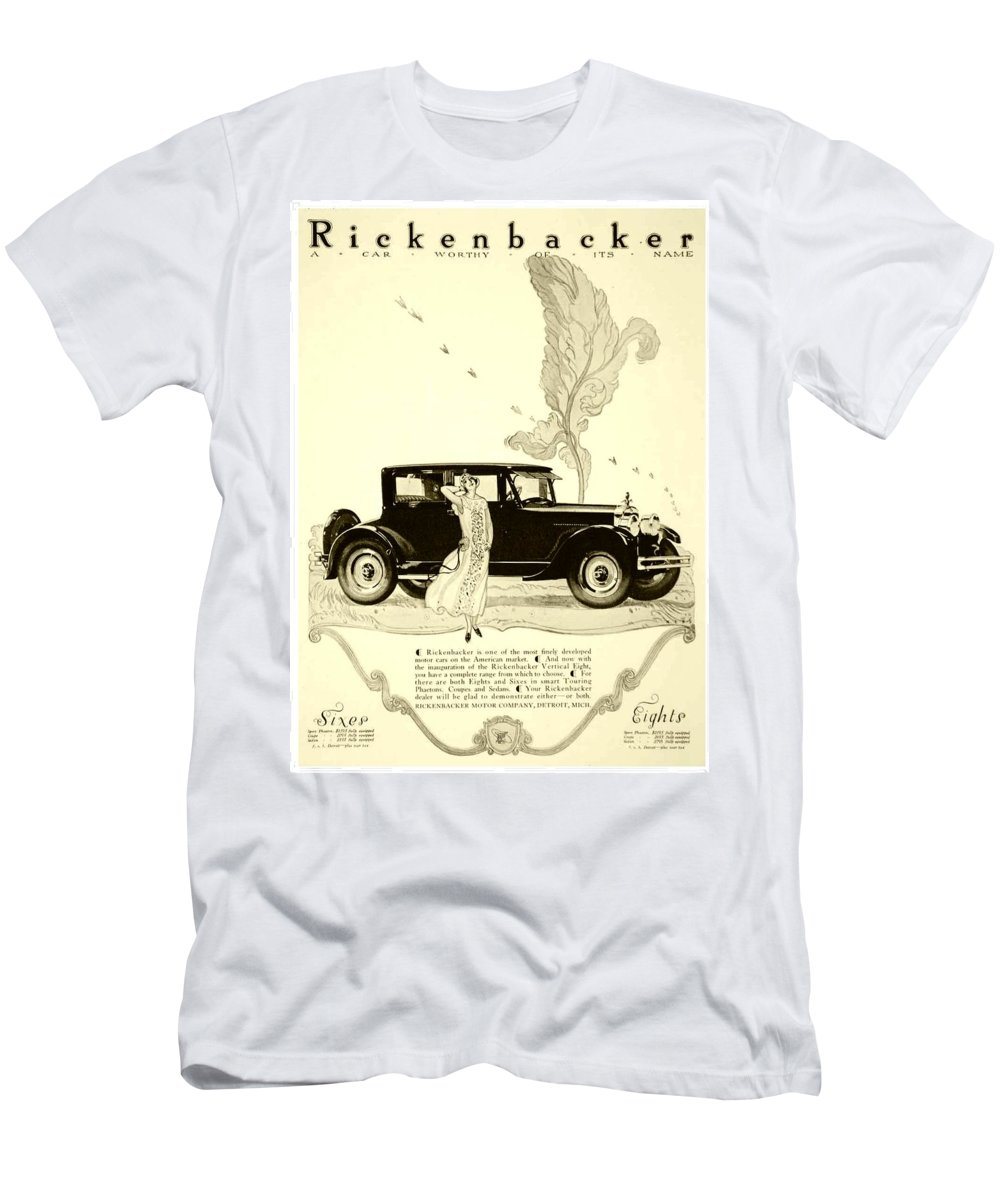 Men's T-Shirt (Athletic Fit) featuring the digital art 1924 - Rickenbacker Automobile Advertisement by John Madison