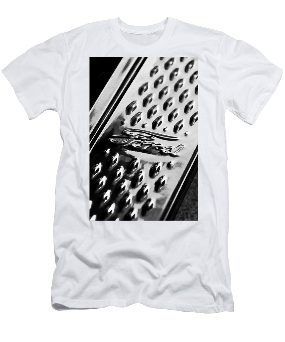 1924 Ford T Roadster Emblem Men's T-Shirt (Athletic Fit) featuring the photograph 1924 Ford T Roadster Emblem -303bw by Jill Reger