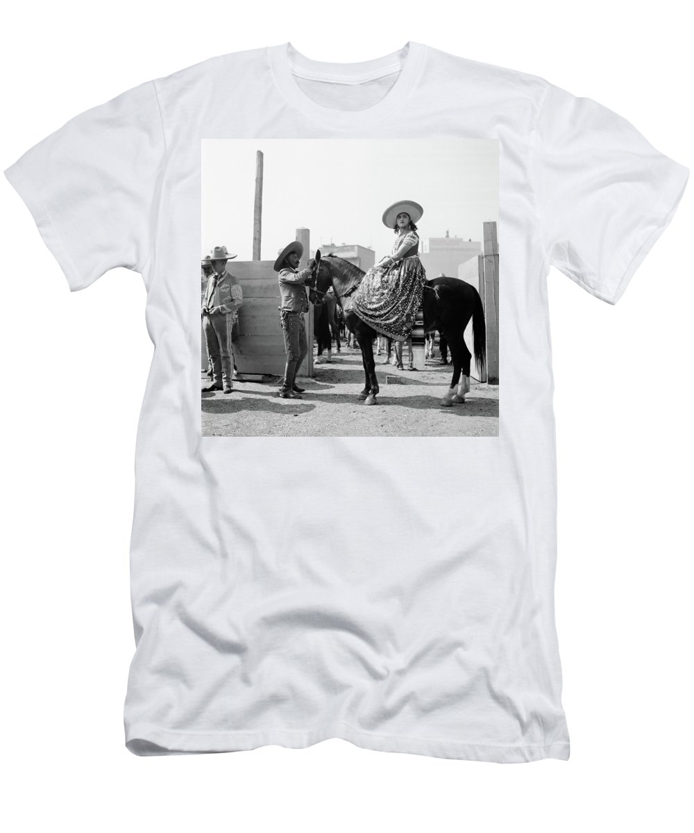 Photography Men's T-Shirt (Athletic Fit) featuring the photograph 1930s Woman Sitting On Horse Wearing by Vintage Images