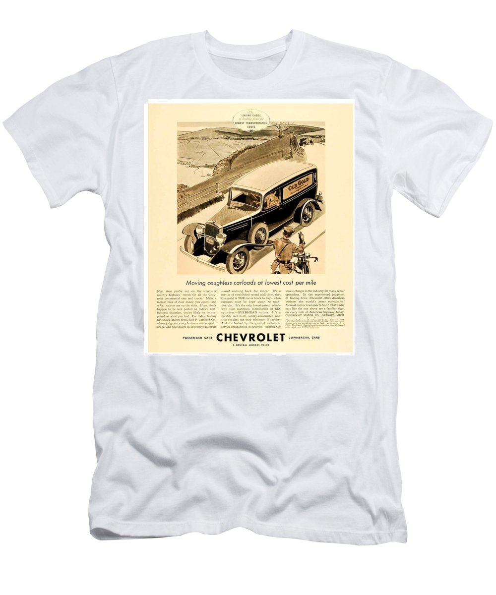 Car Men's T-Shirt (Athletic Fit) featuring the digital art 1933 - Chevrolet Commercial Automobile Advertisement - Old Gold Cigarettes - Color by John Madison