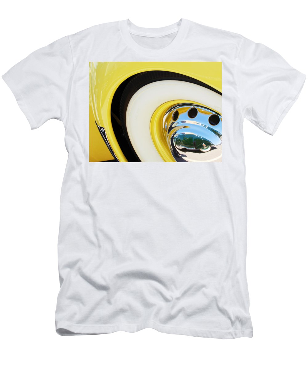 1937 Cord 812 Phaeton Wheel Rim Reflecting Cadillac Men's T-Shirt (Athletic Fit) featuring the photograph 1937 Cord 812 Phaeton Wheel Rim Reflecting Cadillac by Jill Reger
