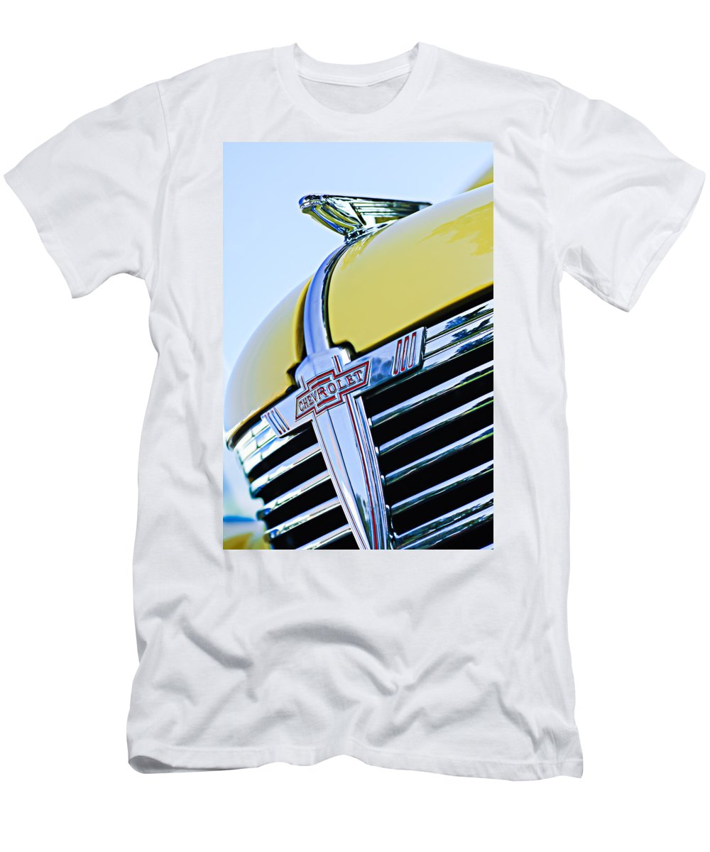 1938 Chevrolet Coupe Hood Ornament Men's T-Shirt (Athletic Fit) featuring the photograph 1938 Chevrolet Coupe Hood Ornament -0216c by Jill Reger