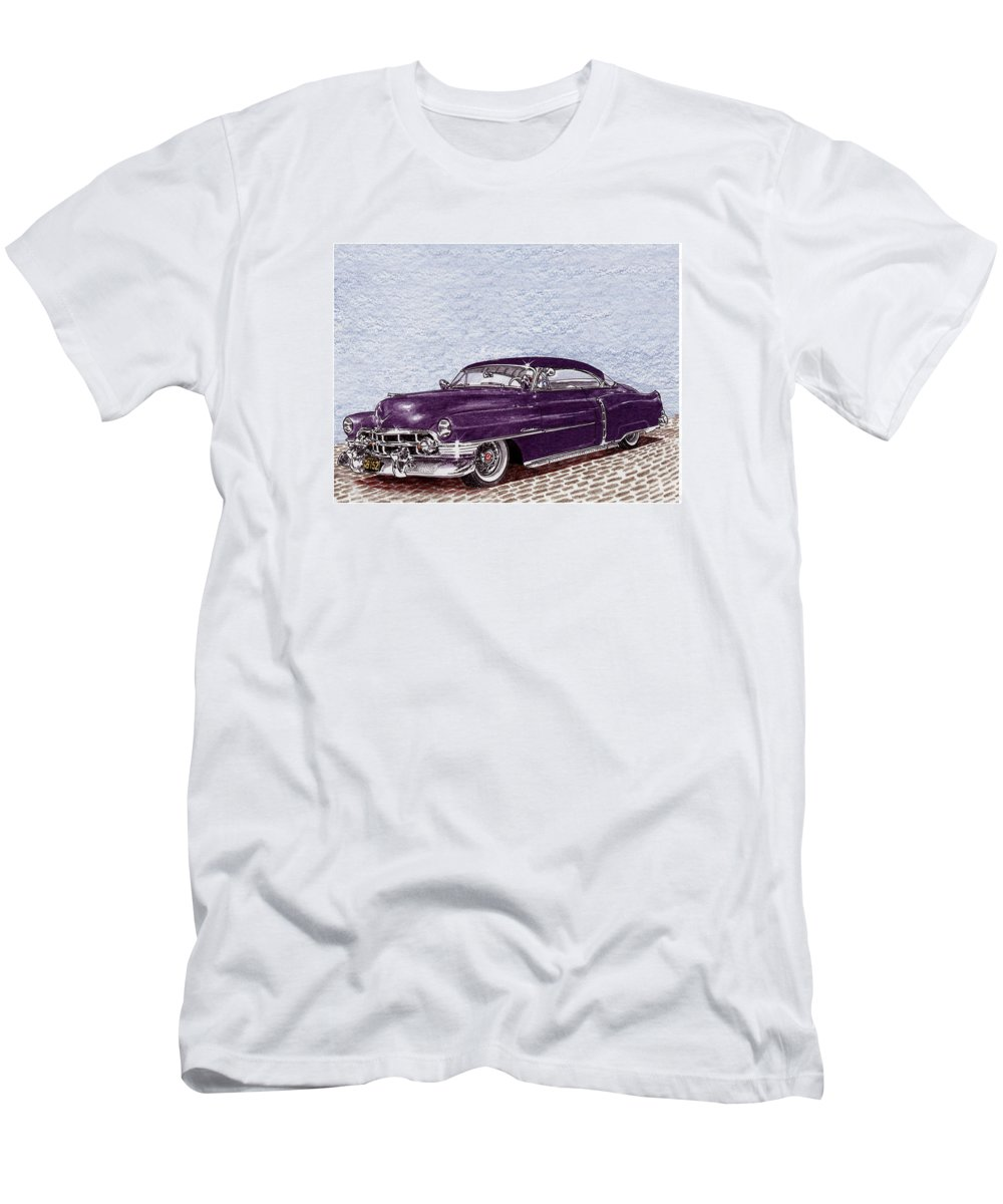 Colored Pencil Drawing Of A Lowrider Chopped 1950 Cadillac Coupe De Ville Men's T-Shirt (Athletic Fit) featuring the painting Chopped 1950 Cadillac Coupe De Ville by Jack Pumphrey