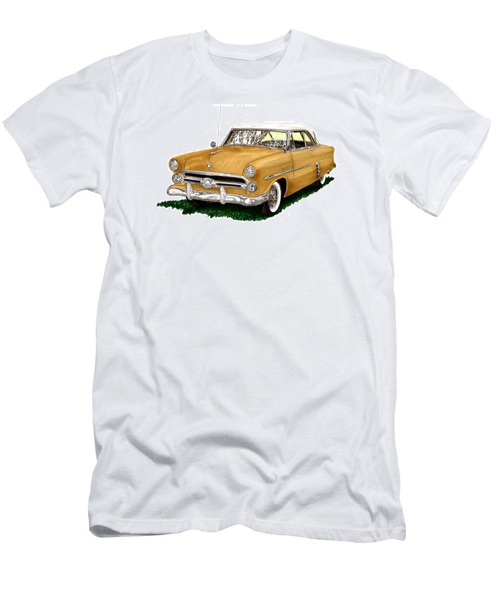Classic Car Art Men's T-Shirt (Athletic Fit) featuring the painting 1952 Ford Victoria by Jack Pumphrey