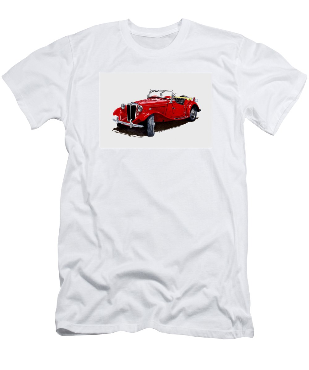 1953 Mg Td Art By Jack Pumphrey Men's T-Shirt (Athletic Fit) featuring the painting 1953 M G T D by Jack Pumphrey