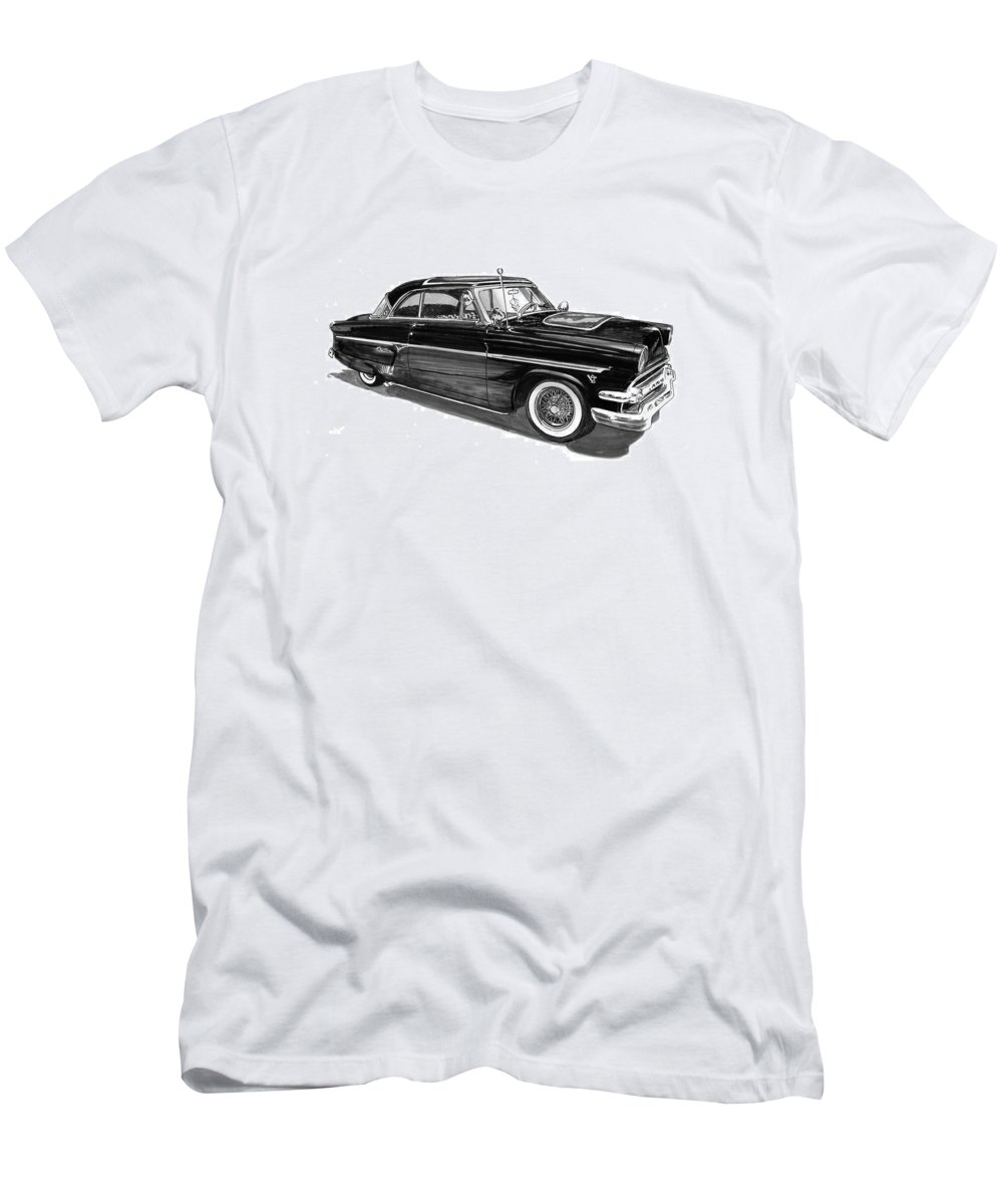 1954 Ford Skyliner Drawing By Jack Pumphrey Men's T-Shirt (Athletic Fit) featuring the drawing 1954 Ford Skyliner by Jack Pumphrey