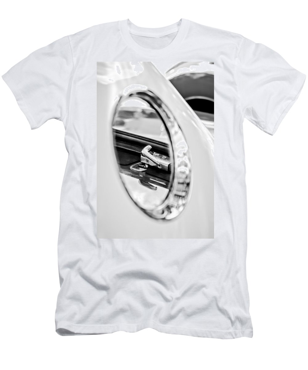1956 Ford Thunderbird Latch Men's T-Shirt (Athletic Fit) featuring the photograph 1956 Ford Thunderbird Latch -417bw by Jill Reger