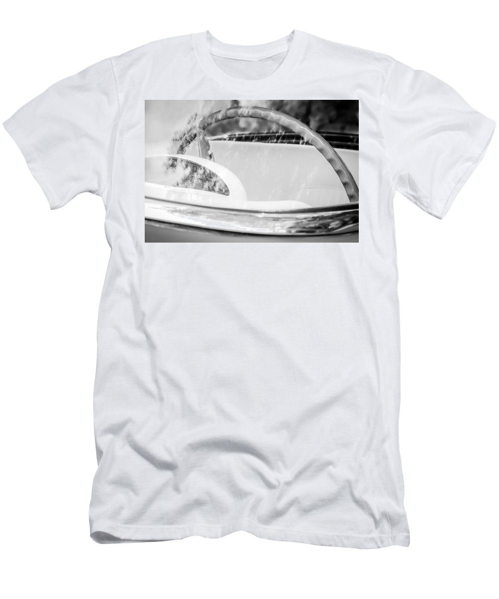 1956 Ford Thunderbird Steering Wheel Men's T-Shirt (Athletic Fit) featuring the photograph 1956 Ford Thunderbird Steering Wheel -402bw by Jill Reger