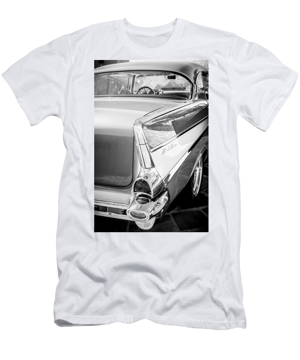 1957 Chevrolet Belair Coupe Tail Fin Men's T-Shirt (Athletic Fit) featuring the photograph 1957 Chevrolet Belair Coupe Tail Fin -019bw by Jill Reger