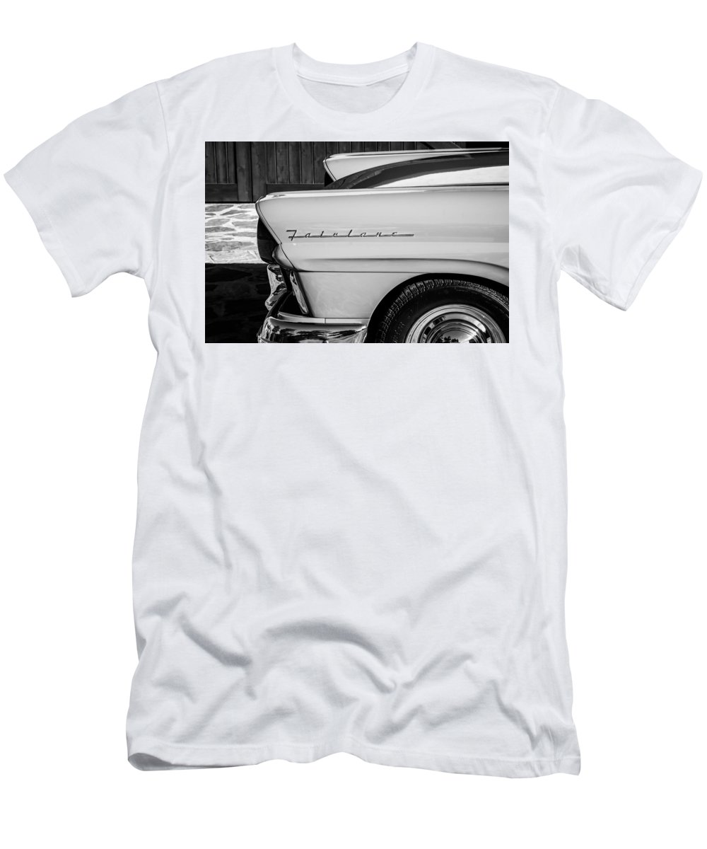 1957 Ford Fairlane Emblem Men's T-Shirt (Athletic Fit) featuring the photograph 1957 Ford Fairlane Emblem -359bw by Jill Reger