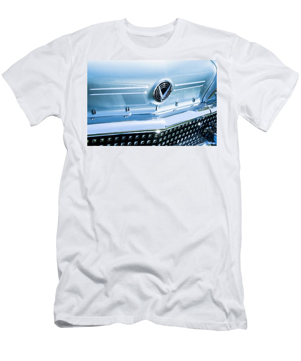 1958 Buick Roadmaster 75 Convertible Grille Emblem Men's T-Shirt (Athletic Fit) featuring the photograph 1958 Buick Roadmaster 75 Convertible Grille Emblem by Jill Reger