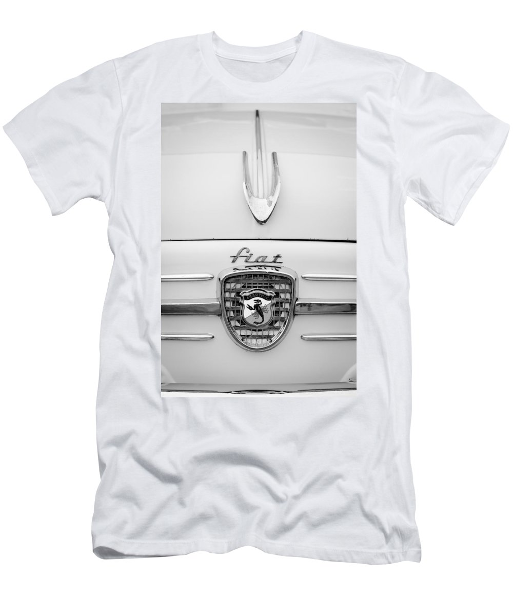 1959 Fiat 600 Derivazione 750 Abarth Hood Ornament Men's T-Shirt (Athletic Fit) featuring the photograph 1959 Fiat 600 Derivazione 750 Abarth Hood Ornament - Emblem by Jill Reger