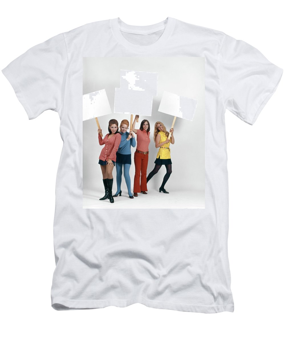 Photography Men's T-Shirt (Athletic Fit) featuring the photograph 1960s Four Women Protesters Holding by Vintage Images