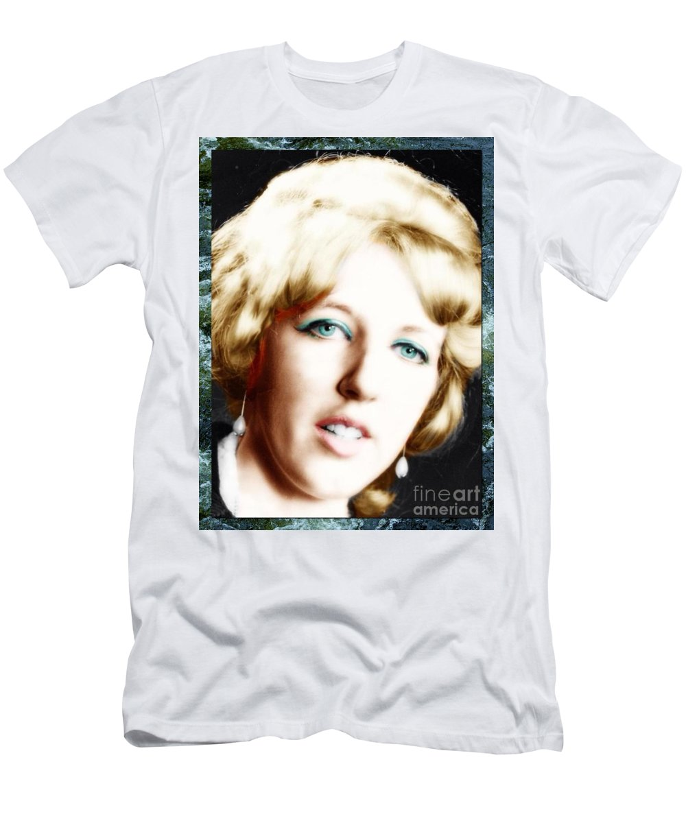 Blonde Portrait Model Men's T-Shirt (Athletic Fit) featuring the photograph 1960's Self Model Pose by Joan-Violet Stretch