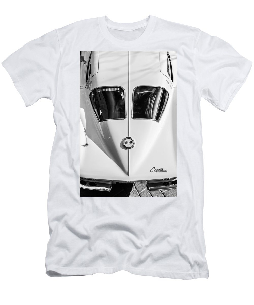 1963 Chevrolet Corvette Split Window Men's T-Shirt (Athletic Fit) featuring the photograph 1963 Chevrolet Corvette Split Window -386bw by Jill Reger