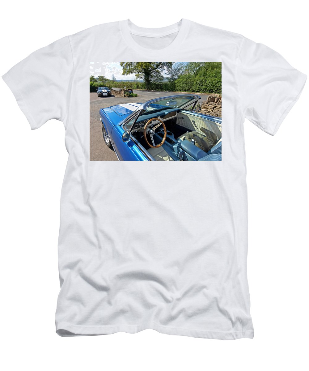 Ford Mustang Men's T-Shirt (Athletic Fit) featuring the photograph 1966 Convertible Mustang On Tour In The Cotswolds by Gill Billington