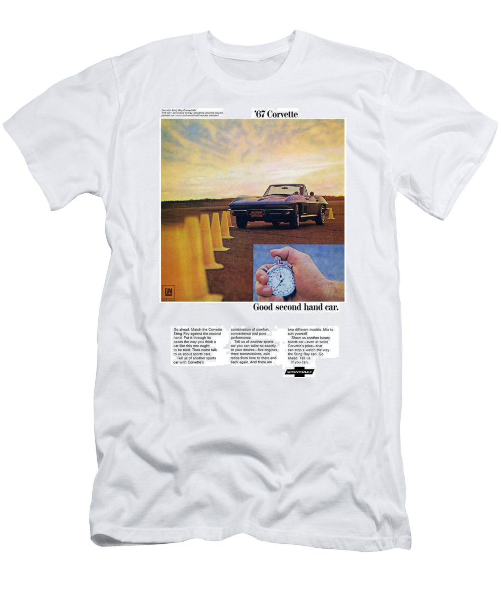 1967 Men's T-Shirt (Athletic Fit) featuring the digital art 1967 Chevrolet Corvette by Digital Repro Depot