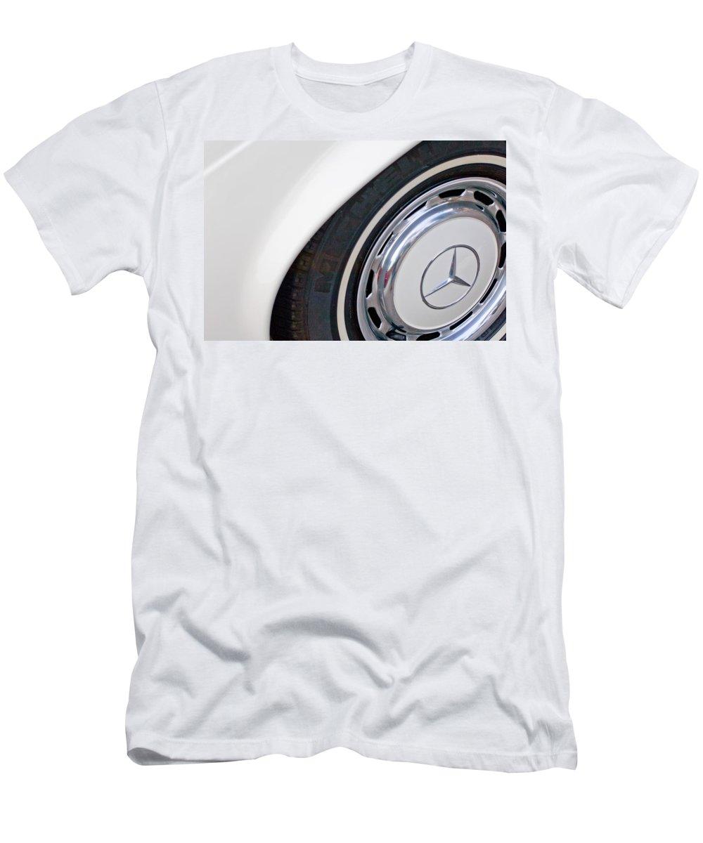 1971 Mercedes-benz Wheel Emblem Men's T-Shirt (Athletic Fit) featuring the photograph 1971 Mercedes-benz Wheel Emblem by Jill Reger