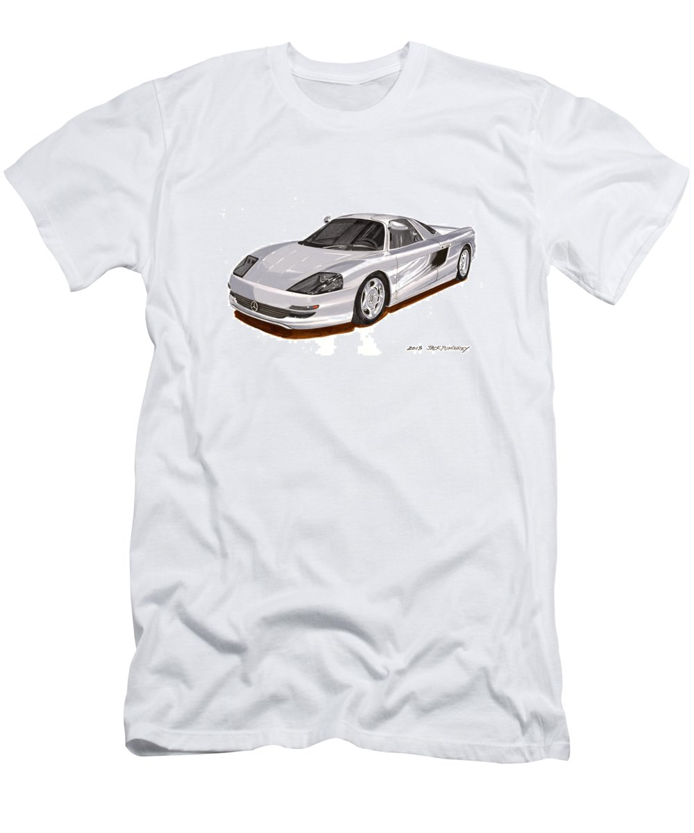 Car Art Men's T-Shirt (Athletic Fit) featuring the painting 1991 Mercedes Benz C 112 Concept by Jack Pumphrey