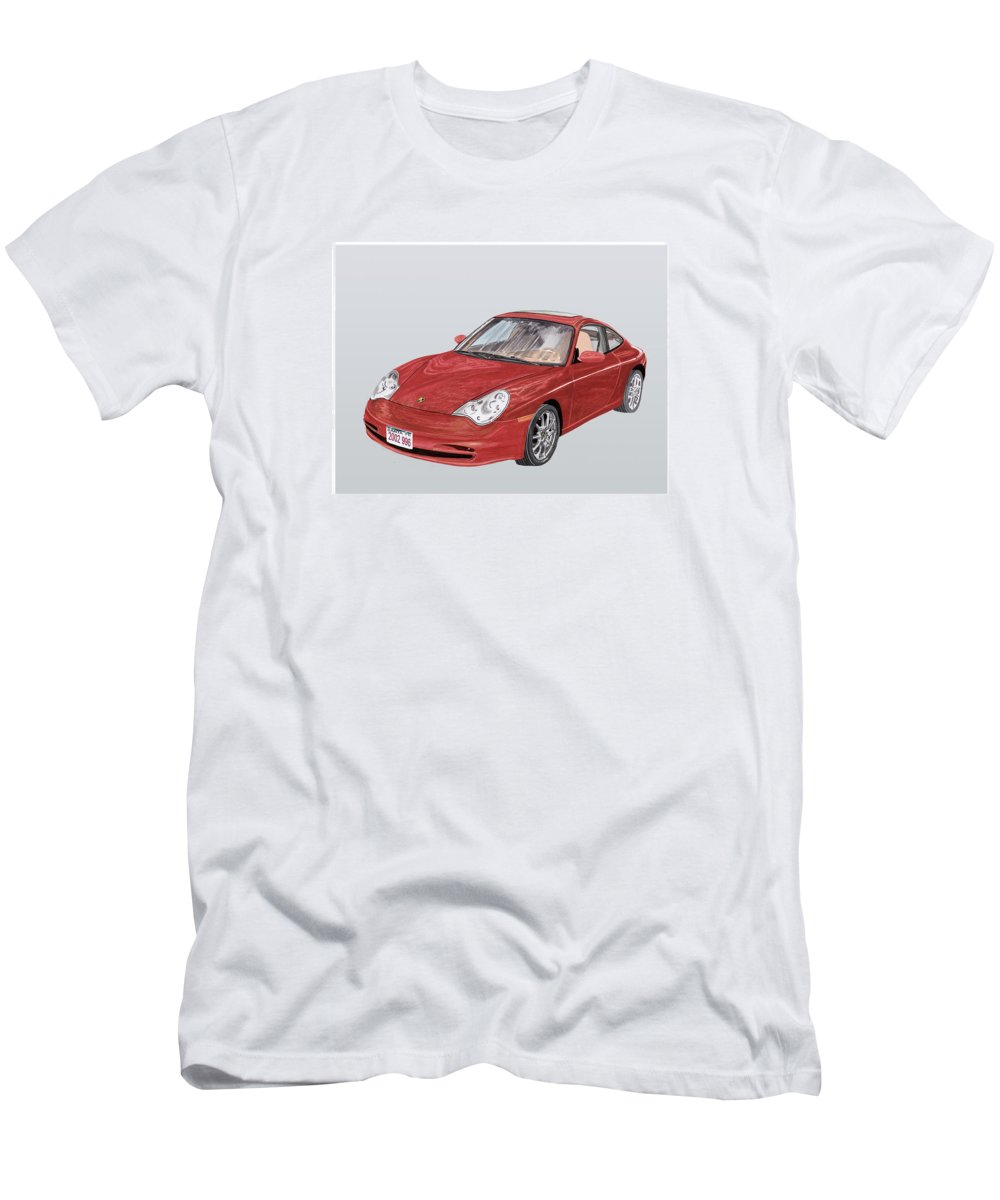 Ack's Watercolor Car Art Of A 2002 Porsche 996 Men's T-Shirt (Athletic Fit) featuring the painting 2002 Porsche 996 by Jack Pumphrey
