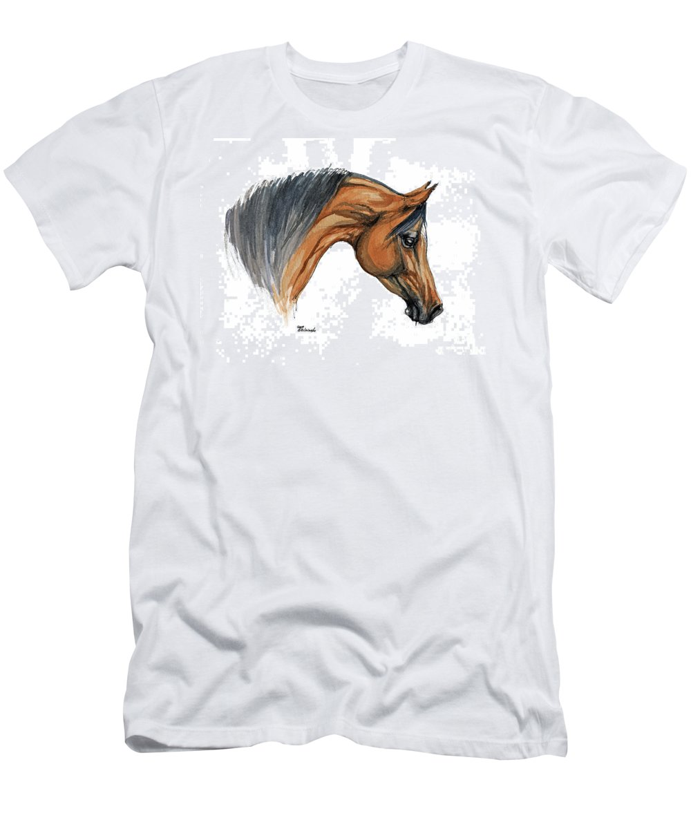 Horse Men's T-Shirt (Athletic Fit) featuring the painting Bay Arabian Horse Watercolor Painting by Angel Ciesniarska