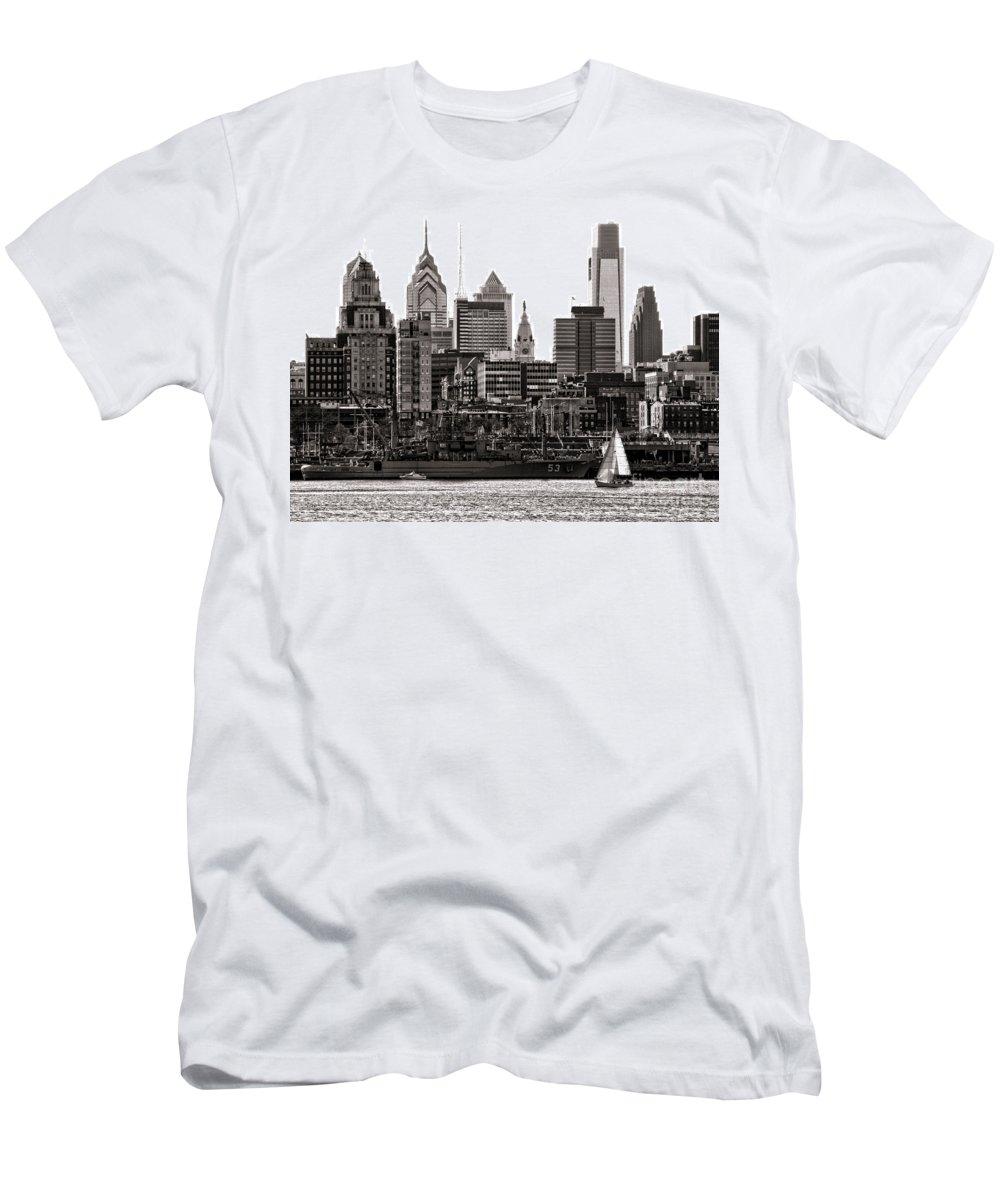 Philadelphia Men's T-Shirt (Athletic Fit) featuring the photograph Center City Philadelphia by Olivier Le Queinec