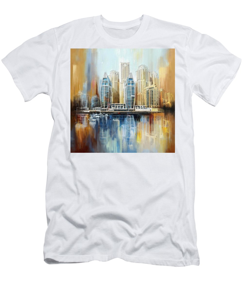 Dubai Men's T-Shirt (Athletic Fit) featuring the painting Dubai Skyline by Corporate Art Task Force