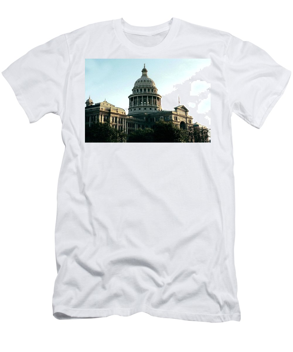 Original Men's T-Shirt (Athletic Fit) featuring the photograph Early Morning At The Texas State Capital by J D Owen